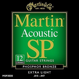Martin SP 3600 12-string Acoustic Guitar Strings - 80/20 Bronze Wound, Extra Light, 3 Sets