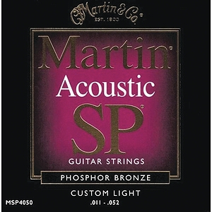 Martin SP 4050 Acoustic Guitar Strings - Phosphor Bronze, Custom Light, 3 Sets