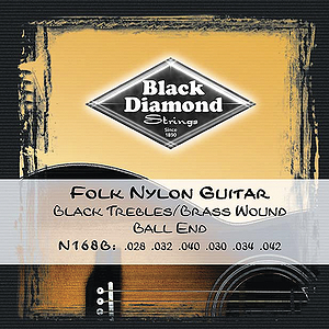 Black Diamond N168B Folk Nylon Guitar Strings - Ball end, 3 Sets