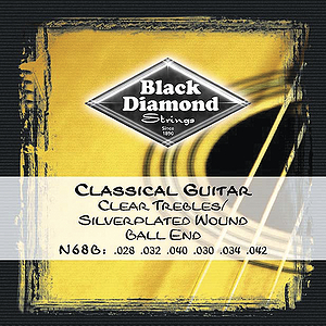 Black Diamond N68B Classical Nylon Guitar Strings - Ball end, 3 Sets