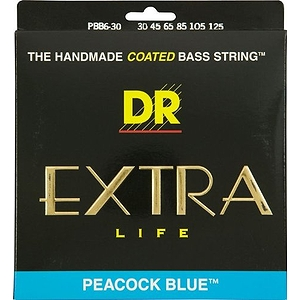 DR Strings Peacock Blue Extra-life Coated 6 String Bass Strings 30-125