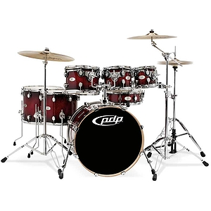 Pacific Drums X7 7-Piece Maple Shell Pack -  Red to Black Sparkle Burst