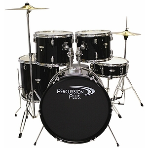 Percussion Plus 5-piece Beginner Drum Set w/cymbals & throne - Black