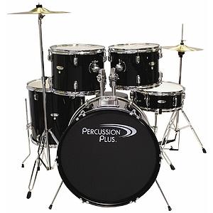Percussion Plus 5-piece Beginner Drum Set w/cymbals & throne - Black