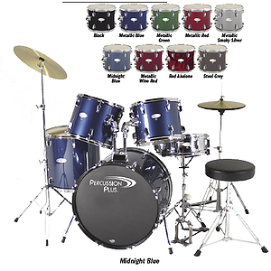 Percussion Plus PP3350 5-piece Drumset w/20&quot; Bass Drum - Steel Grey