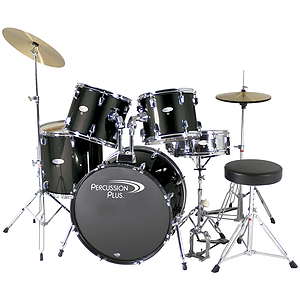 Percussion Plus Deluxe Beginner 5-Piece Drum Set w/ Cymbals and Throne - Black