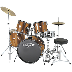 Percussion Plus Deluxe Beginner 5-Piece Drum Set w/ Cymbals and Throne - Metallic Bronze
