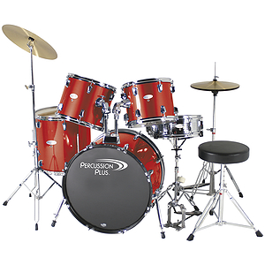 Percussion Plus Deluxe Beginner 5-Piece Drum Set w/ Cymbals and Throne - Metallic Red
