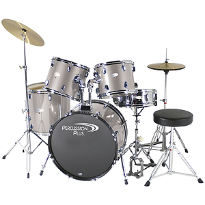 Percussion Plus Deluxe Beginner 5-Piece Drum Set w/ Cymbals and Throne - Metallic Smoky Silver