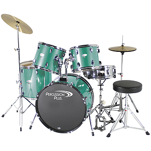 Percussion Plus Deluxe Beginner 5-Piece Drum Set w/ Cymbals and Throne - Sea Green