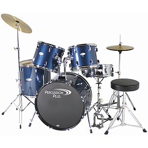 Percussion Plus Deluxe Beginner 5-Piece Drum Set w/ Cymbals and Throne - Midnight Blue