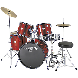 Percussion Plus Deluxe Beginner 5-Piece Drum Set w/ Cymbals and Throne - Metallic Wine Red