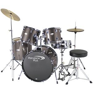 Percussion Plus Deluxe Beginner 5-Piece Drum Set w/ Cymbals and Throne - Steel Grey