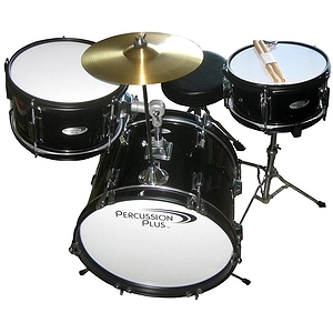 Percussion Plus 3-Piece Junior Children's Drum Set w/ Cymbal & Throne - Black