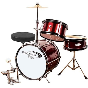 Percussion Plus PPJR3WR 3-piece Junior Drum Set - Wine Red