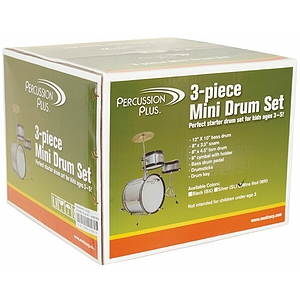 Percussion Plus 3-Piece Mini Children&#039;s Drum Set w/ Cymbal - Silver