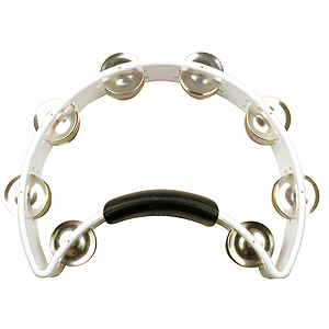 Rhythm Tech Tambourine - Half-moon shape w/power grip - White