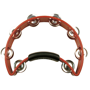 Rhythm Tech Tambourine - Half-moon shape w/power grip - Red