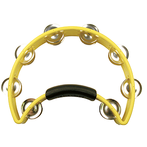 Rhythm Tech Tambourine - Half-moon shape w/power grip - Yellow