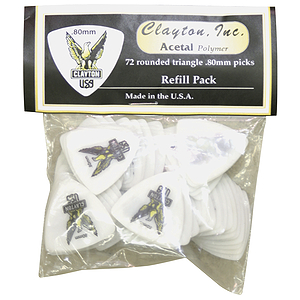 Clayton Acetal Round Triangle Picks, bag of 72 - .80mm-Yellow