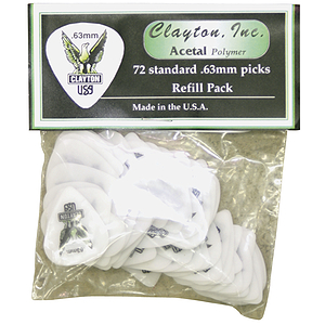 Clayton Acetal Standard Picks, bag of 72 - .63mm-Green