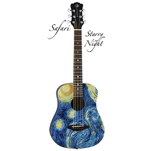 Luna Safari Starry Night 3/4-Size Travel Guitar