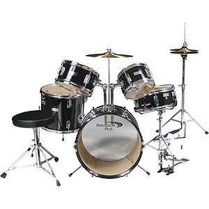 Percussion Plus 5-piece Junior Drum Set w/Hi-hat - Black