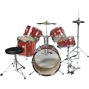 Percussion Plus 5-piece Junior Drum Set w/Hi-hat - Red