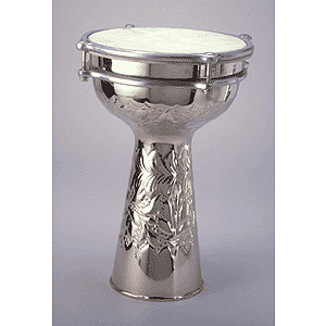 "Nickel-plated Doumbek - 10"" Embossed"