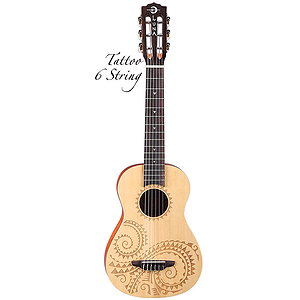 Luna Uke Tattoo 6-string Baritone Ukulele / Mini Guitar