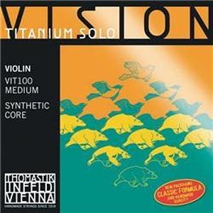 Thomastik Vision Titanium Solo Violin Strings Set, Titanium 4/4 Size