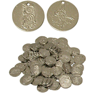 Nickled Brass Coins, Small, 20mm, 100 Ct