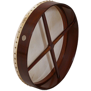 "Bodhran, 18""x3.5"", Fixed, Rosewood, Cross"