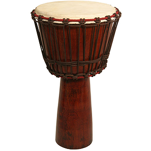 "Djembe, 13"" x 24"" Mango Wood, Red"