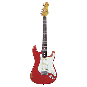 Vintage Guitars Icon V6 Electric Guitar - Distressed Firenze Red
