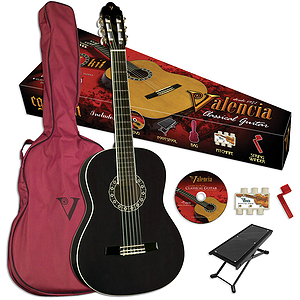 Valencia VG-CG1KB Student Classical Guitar Outfit - Black - 3/4-size