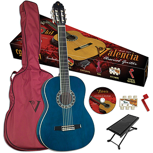 Valencia VG-CG1KBU Student Classical Guitar Outfit - Blue - 3/4-size
