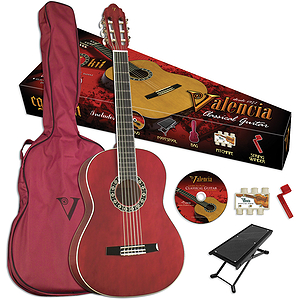 Valencia VG-CG1KR Student Classical Guitar Outfit - Red - 3/4-size
