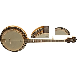 Washburn B120 5-string Banjo with case - Distressed Natural