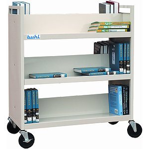 Book Carts, Putty Color, UPS-Able Double Sided Six Shelves