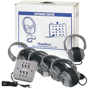 Hamilton Electronics Listening Center, 6 Station Jackbox with Volume, Deluxe Headphones, ASM with Laminated Carry Box