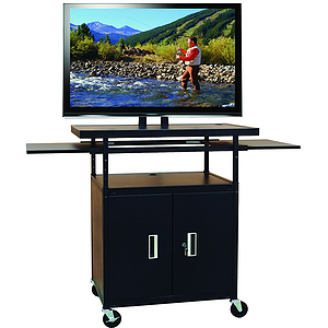 "Buhl Flat Panel AV Cart with Locking Cabinet Adjustable 34"" to 54"""