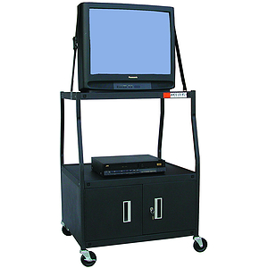 "Buhl Wide Body Media Cart, 48"" High, with Locking Cabinet and Electric Outlets"