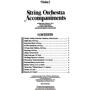 String Orchestra Accompaniments To Solos From Volumes 1 & 2 Violin 1