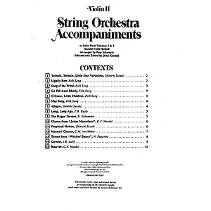 String Orchestra Accompaniments To Solos From Volumes 1 & 2 Violin 2