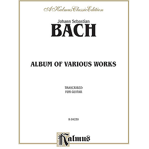 Bach Album Of Various Works Transcribed For Guitar