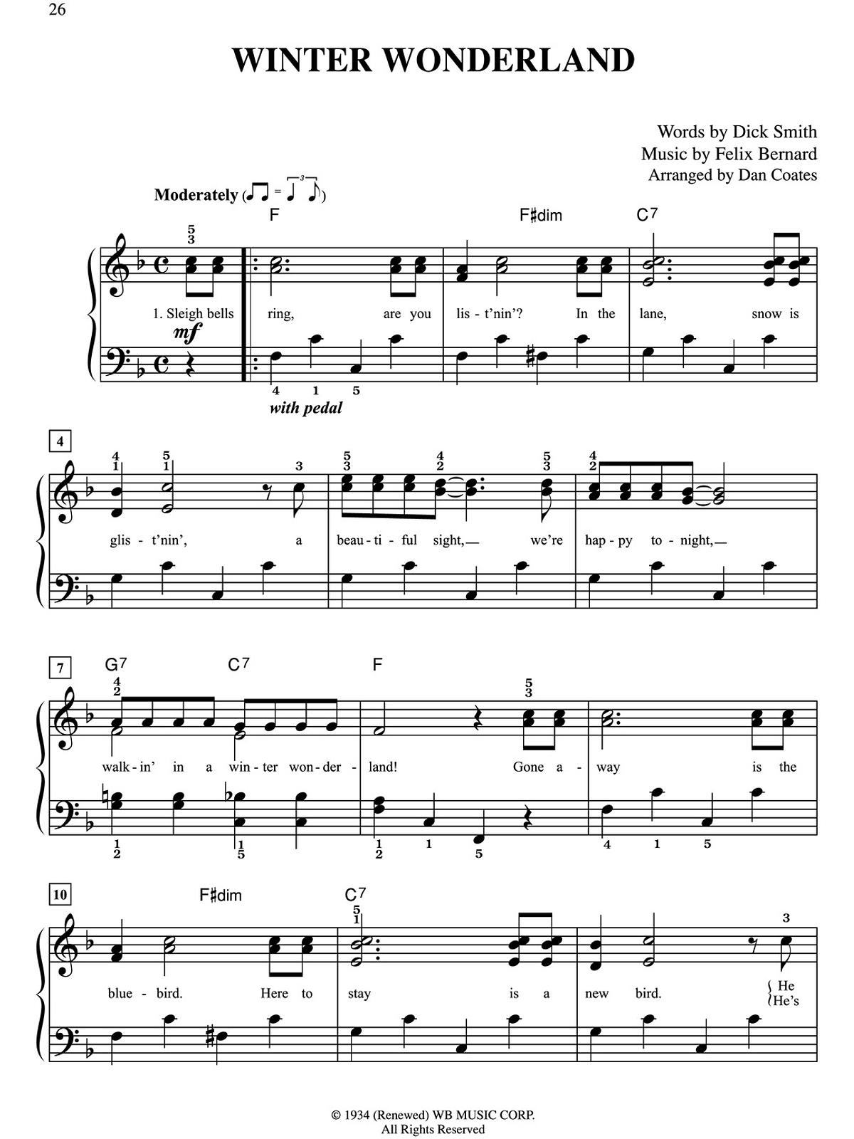 Winter wonderland music lyrics 10 for 10 sheet music